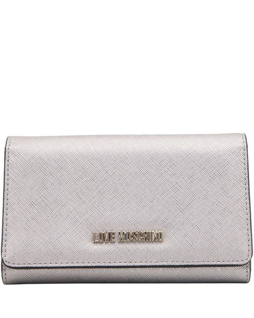 Moschino - Metallic Love Leather Continental Wallet - Lyst