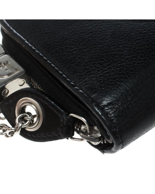 a22b3b0bb44 ... Dior - Black Leather Dice Charm Zip Compact Wallet - Lyst ...