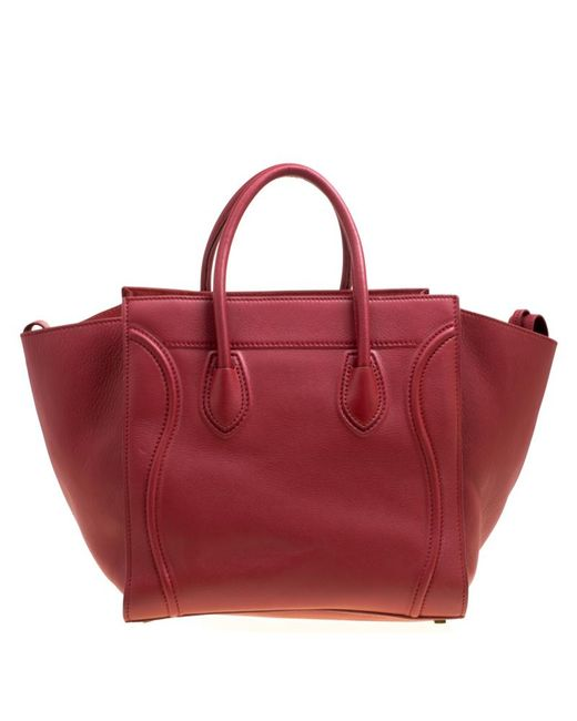038c852cba ... Céline - Red Leather Medium Phantom Luggage Tote - Lyst ...
