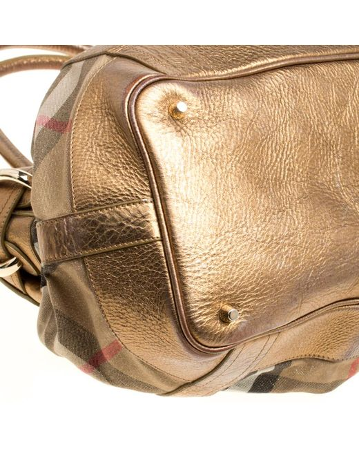a2601f0d6616 ... Burberry - Metallic Leather And House Check Fabric Bridle Tote - Lyst  ...