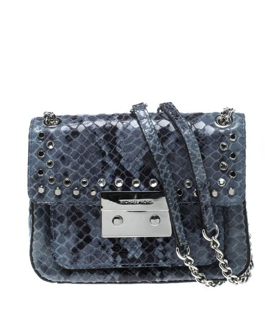 970de83c617d Michael Kors - Blue Aquamarine Python Embossed Leather Sloan Studded Shoulder  Bag - Lyst ...