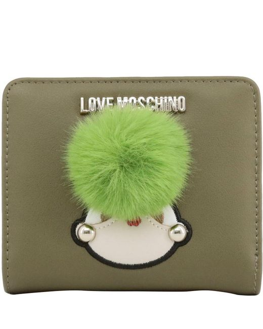 Moschino Love Green Faux Leather Coin Purse