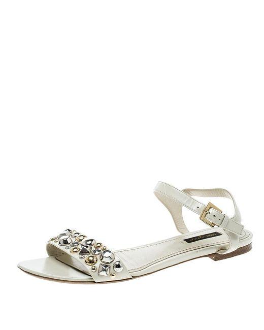 Louis Vuitton - Multicolor Leather Studded Flat Ankle Strap Sandals - Lyst