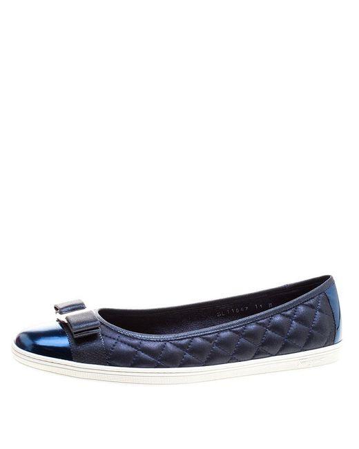 Ferragamo - Blue Metallic Quilted Leather Rufina Sneaker Ballet Flats - Lyst