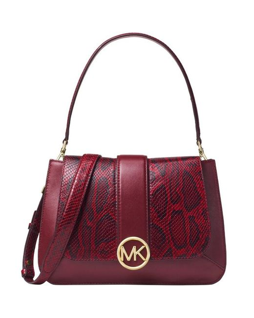 5a9a3a7ebb14 MICHAEL Michael Kors - Purple Burgundy Snake Embossed And Leather Lillie  Top Handle Shoulder Bag -