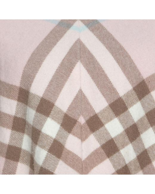 7156ef4f6ffa5 ... Burberry - Pale Pink Novacheck Cashmere Fringed Poncho ( One Size ) -  Lyst ...