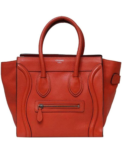869f7b6b87d1 Céline - Red Leather Micro Luggage Tote - Lyst ...
