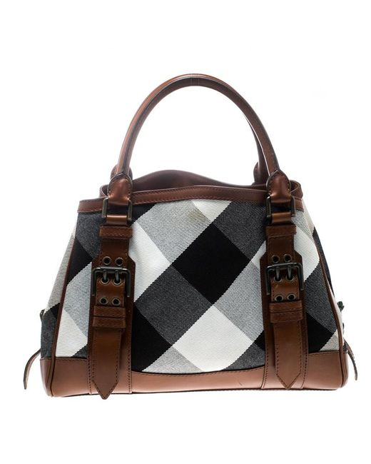 12ca2b8b653f ... Burberry -  brown Canvas And Leather Mega Check Tote - Lyst ...