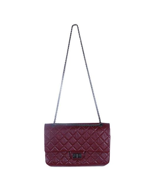 Chanel Purple Burgundy Quilted Aged Calfskin 226 Reissue 2.55 Flap Bag