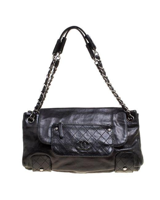 4869dc9fd7f0 Chanel - Black Grain Leather Accordion Shoulder Bag - Lyst ...