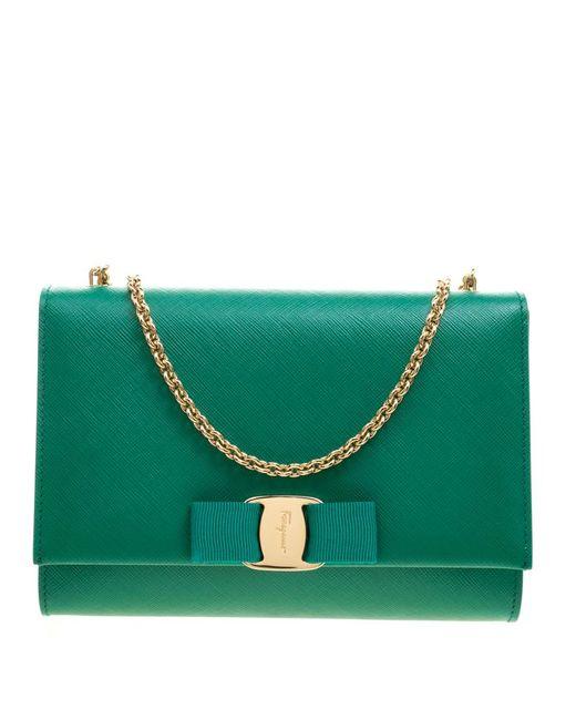 Ferragamo - Green Leather Ginny Shoulder Bag - Lyst