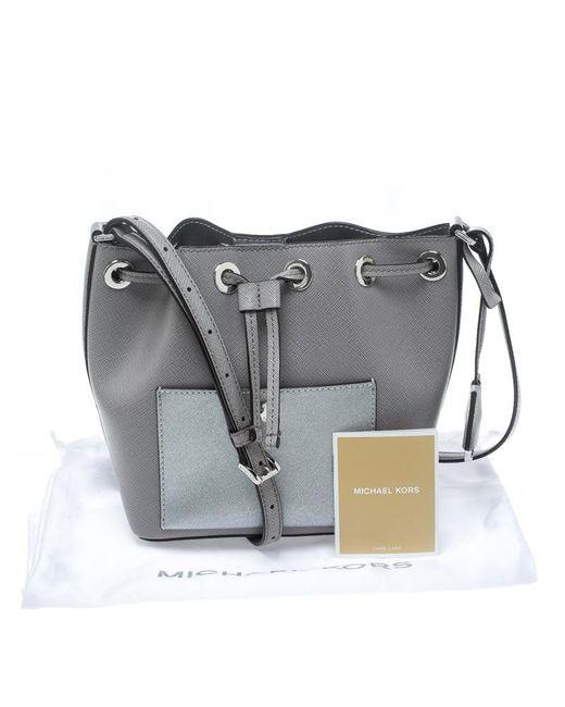 a22b10a0f791 ... MICHAEL Michael Kors - Gray Leather Small Greenwich Drawstring Bucket  Bag - Lyst ...