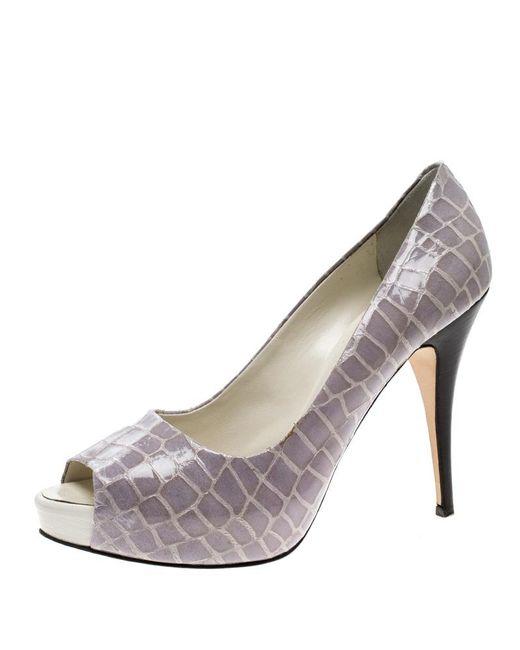 Giuseppe Zanotti - Gray Grey Croc Embossed Patent Leather Peep Toe Platform Pumps Size 40 - Lyst