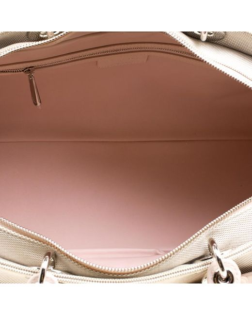 af50b6b95c1f21 ... Dior - Natural Beige/pink Canvas And Leather Nappy Diaper Bag - Lyst ...