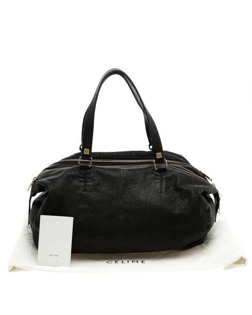 2afeca365e ... Céline - Black Pebbled Leather Triple Zip Satchel - Lyst ...