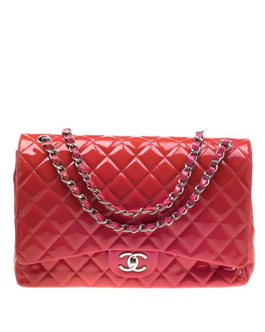 9893506a5577 Chanel - Pink Quilted Patent Leather Maxi Classic Double Flap Bag - Lyst ...