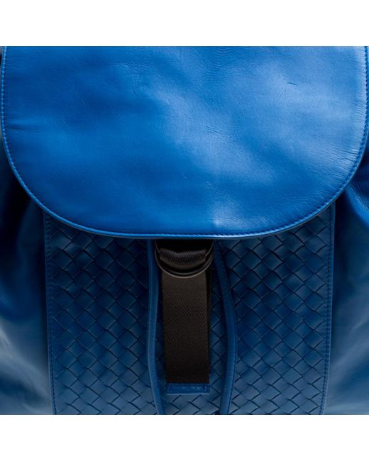 9c9ab4deab ... Bottega Veneta - Blue Intrecciato Leather Drawstring Backpack for Men -  Lyst ...