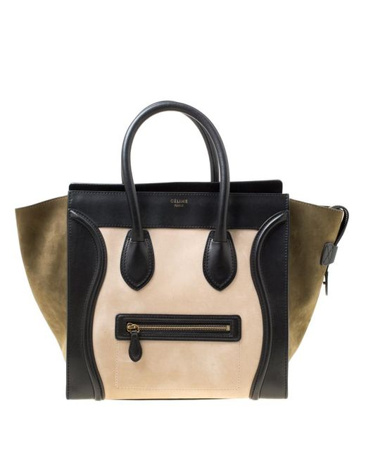c564dc142cd8 Céline - Black Tri Color Nubuck And Leather Mini Luggage Tote - Lyst ...