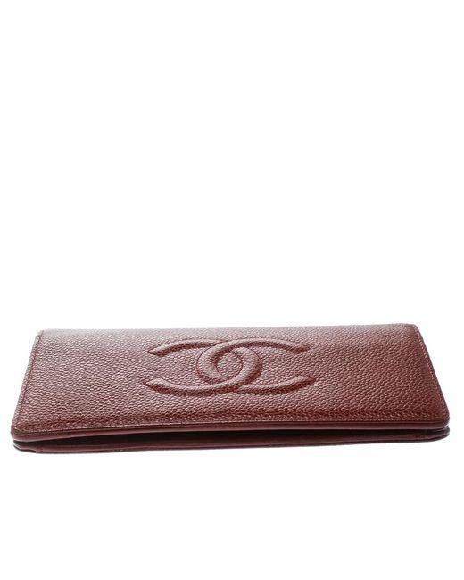a40608b3ace1 ... Chanel - Multicolor Burgundy Caviar Leather Cc Long Bifold Wallet -  Lyst ...