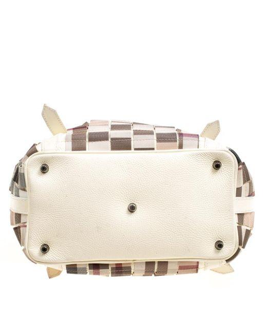 6272d5faf0be ... Burberry - Multicolor Cream Cartridge Nova Check Lowry Tote - Lyst ...