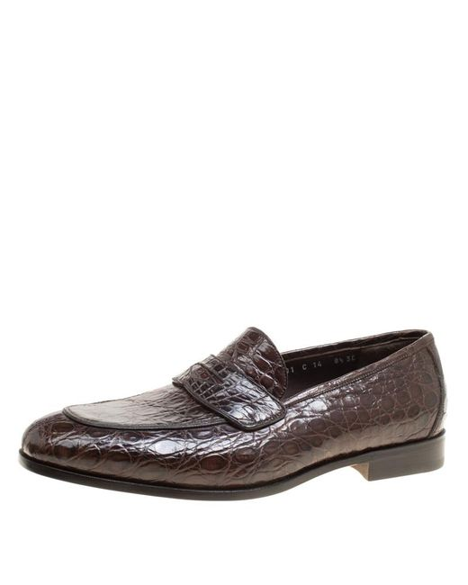 5ee58289a4c6d Ferragamo - Brown Mocca Crocodile Leather Pablo Penny Loafers for Men - Lyst  ...
