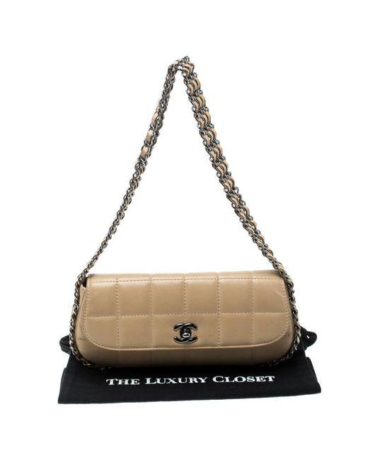 7d0413088362 ... Chanel - Natural Beige Leather Triple Chain Chocolate Bar Flap Shoulder  Bag - Lyst ...