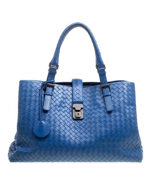 Bottega Veneta - Blue Intrecciato Leather Roma Tote - Lyst