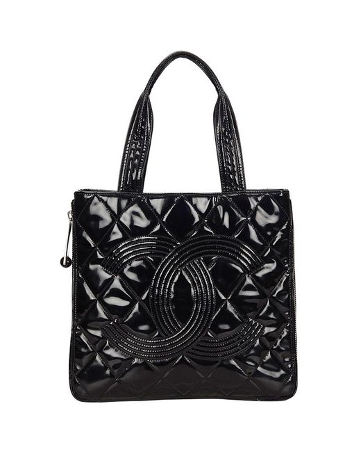 00d81f32a9d153 Chanel - Black Quilted Patent Leather Cc Tote - Lyst ...