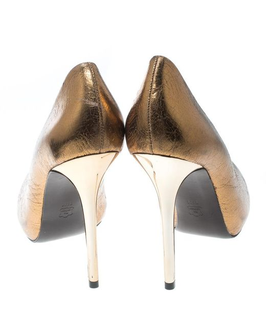210f2e1dfc32 ... Tory Burch - Metallic Bronze Crackled Leather Jenna Pumps Size 41 - Lyst  ...