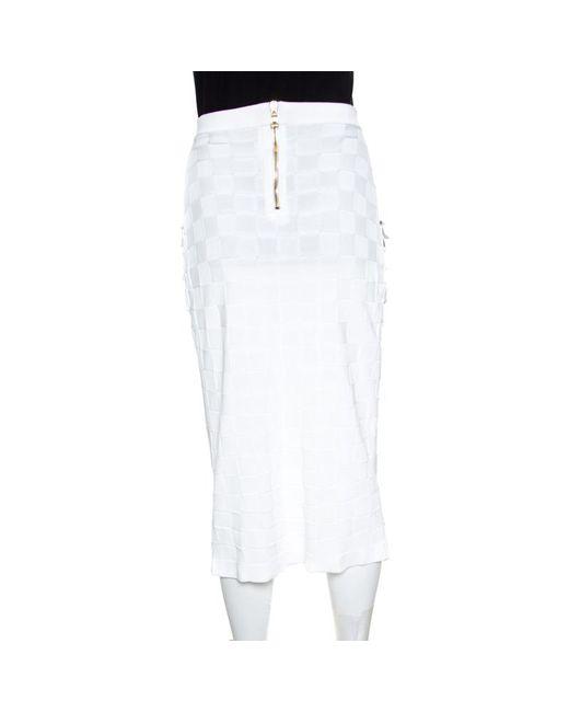 df5ab3d0d3 ... Balmain - White Checkered Knit Patch Pocket Detail Faux Wrap Skirt S -  Lyst ...