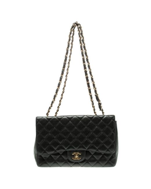deb2b6be09a0 Chanel - Black Quilted Caviar Leather Jumbo Classic Single Flap Bag - Lyst  ...