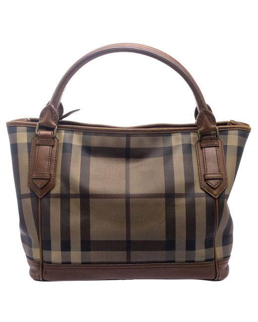 bc5241bcd006 ... Burberry - Brown Smoke Check Pvc And Leather Tote - Lyst ...