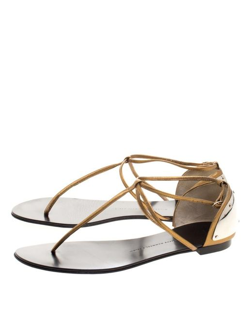7e228af757de6d ... Giuseppe Zanotti - Metallic Bronze Leather T-strap Flat Sandals - Lyst  ...
