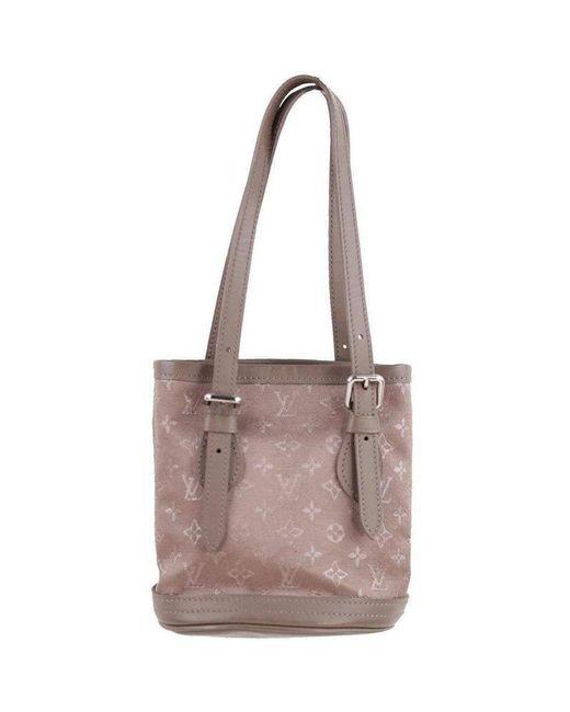 4bb53ea14b3b Louis Vuitton - Brown Taupe Monogram Satin Micro Mini Bucket Bag - Lyst ...