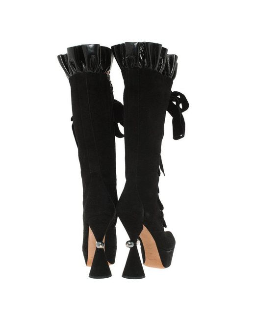 f7280f4c1fa ... Louis Vuitton - Black Suede And Patent Ruffle Cancan Velvet Lace Up  Knee Boots - Lyst ...