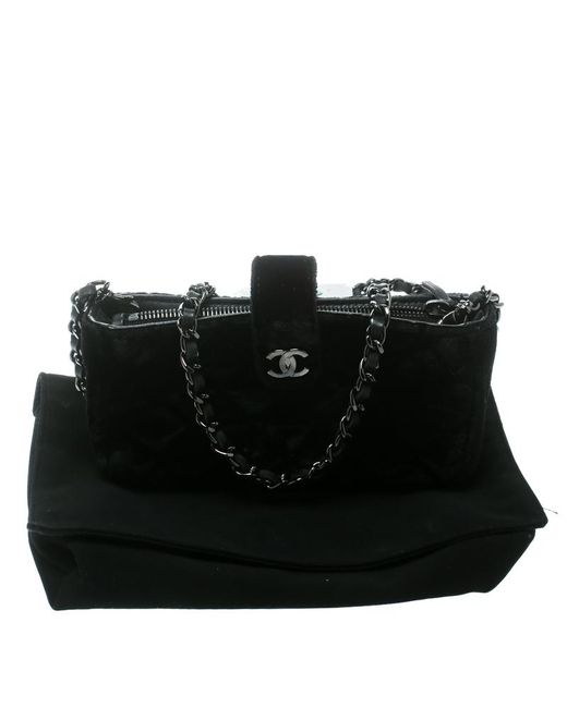 caa8c0a5bd002f ... Chanel - Black Quilted Velvet Iphone Pouch - Lyst ...