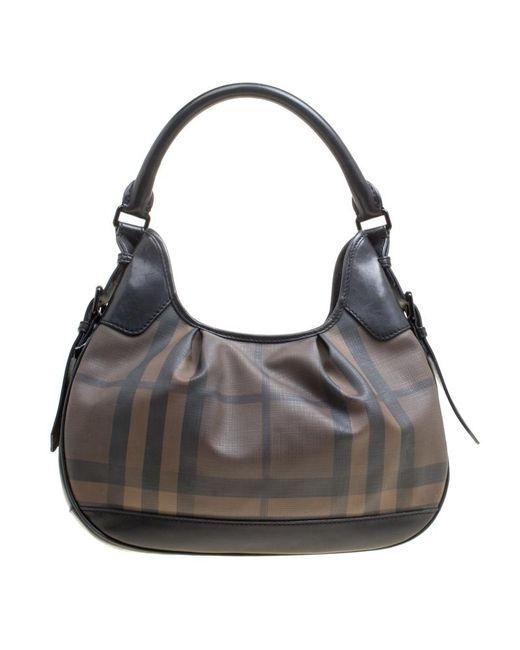 f7e98f4d9c4a Burberry - Brown black Nova Check Pvc And Leather Small Brooklyn Hobo - Lyst  ...