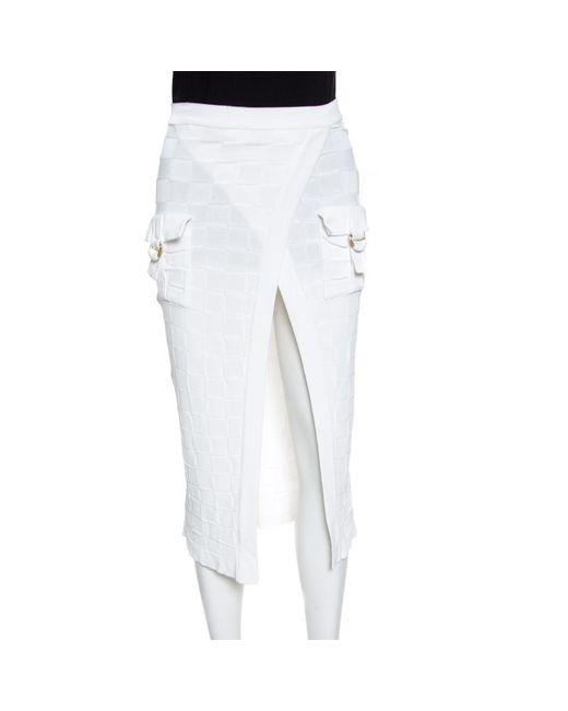 dac6b24a0b Balmain - White Checkered Knit Patch Pocket Detail Faux Wrap Skirt S - Lyst  ...