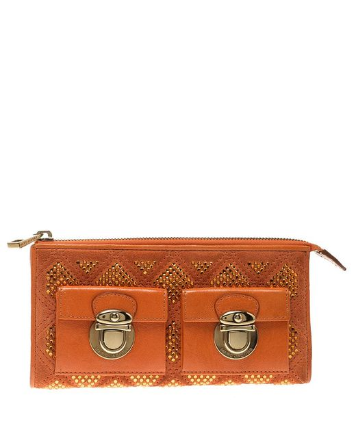 Marc Jacobs - Orange Quilted Leather Crystal Embellished Double Pocket Zip Wallet - Lyst