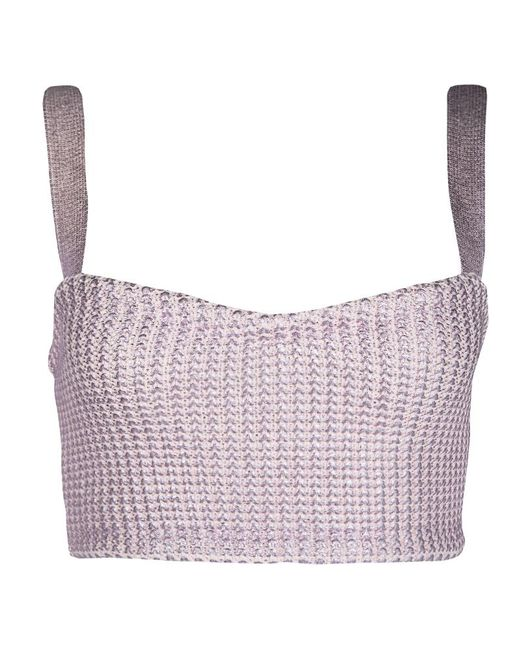 Dior - Pink Metallic Foil Printed Knit Bustier Top S - Lyst