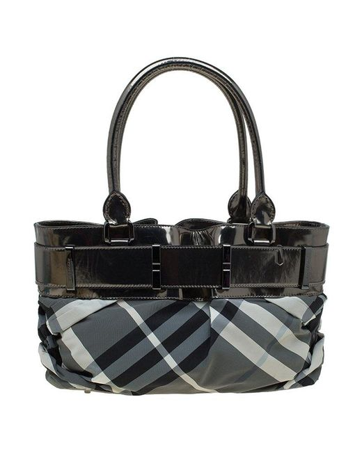 cab5239bf7de ... Burberry - Gray Metallic Grey Beat Check Nylon And Leather Small Healy  Tote - Lyst ...