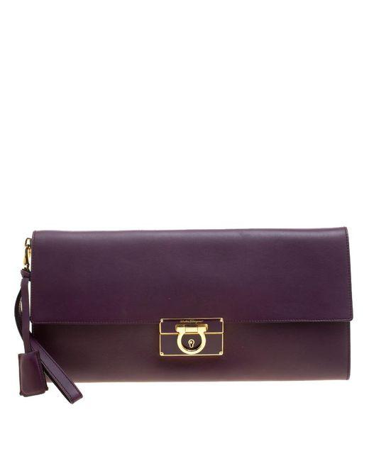 065b949b0f4e Ferragamo - Purple Leather Afef Gancio Clutch - Lyst ...