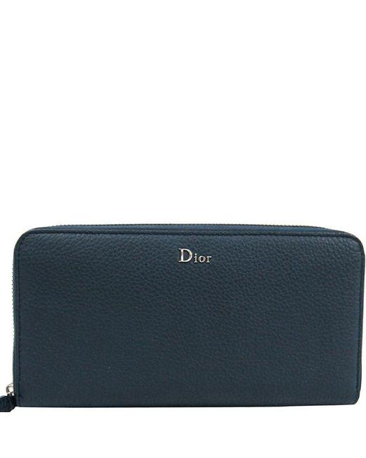 Dior Homme Blue Dior Homme Navy Calfskin Leather Long Wallet