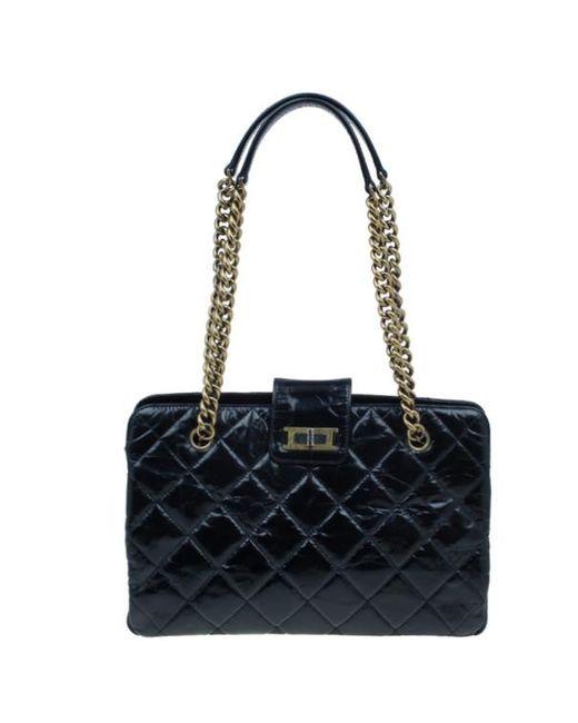 81ddb6b13b7e Chanel Black Glazed Cracked Calfskin Leather Tote in Black - Lyst