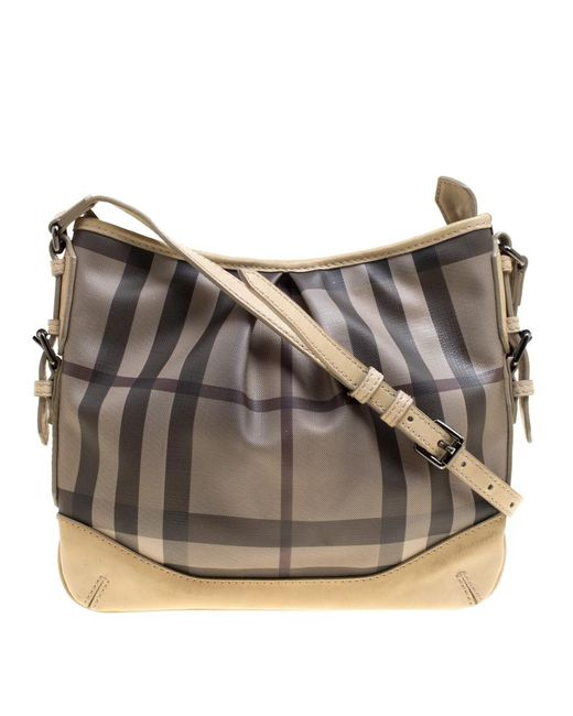2cec3439f1c2 Burberry - Natural Beige Smoke Check Pvc And Leather Crossbody Bag - Lyst  ...