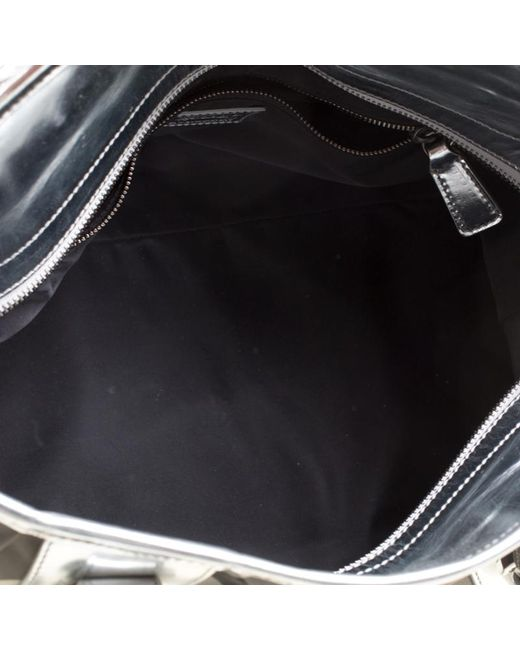 90d8df33885b ... Burberry - Metallic Silver Beat Check Nylon And Patent Leather Medium  Lowry Top Handle Bag ...