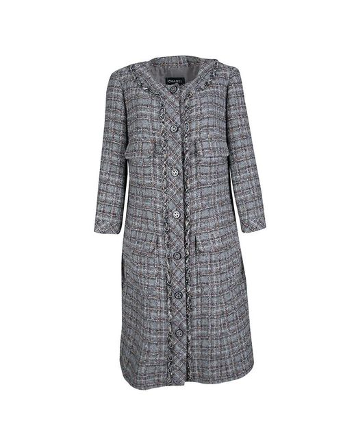 Chanel - Gray Checkered Tweed Chain Embellished Buttoned Dress Coat Xl - Lyst