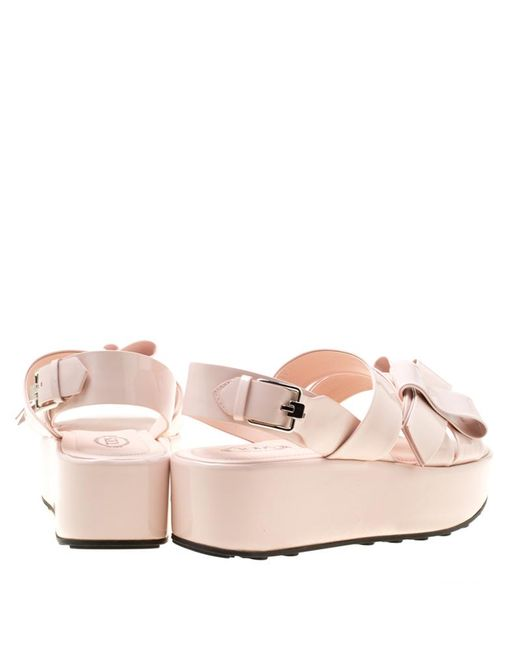 081a4868c2 ... Tod's - Blush Pink Patent Leather Slingback Platform Sandals Size 39 ...