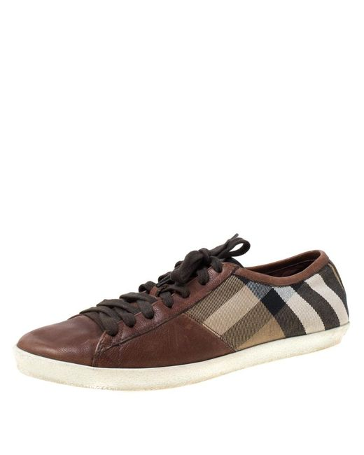 Burberry Brown Nova Check Canvas And Leather Cap Toe Low Top Sneakers Size 40 for men