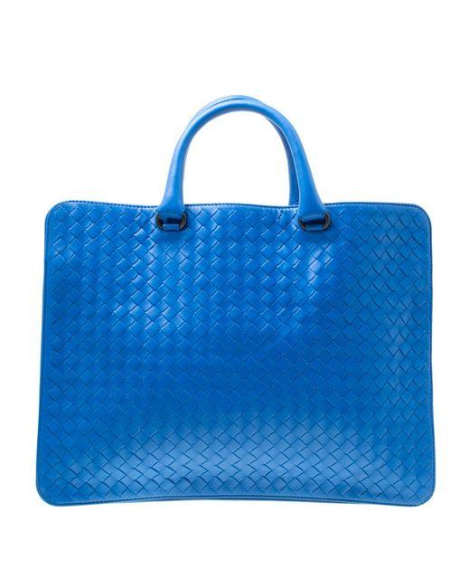 1988528edb5d Bottega Veneta - Blue Intrecciato Leather Flat Briefcase - Lyst ...